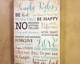 12x18 Custom Family Rules Canvas Gallery Wrap
