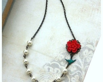 Red Sakura Flower, Teal Flying Swallow Bird, Ivory Pearls Vintage Inspired Necklace. Wedding,Bridal Gift Party. Bridesmaid Gift. For Sister