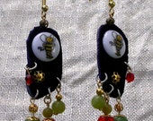 Bumble Bee earrings, leather, crystal, jade, beads, green red, dangle assemblage statement jewelry