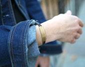 Online Only Leather Gold Silver Wrap Bracelet Tube Bracelet Button Bracelet Adjustable Jewelry Versatile Jewelry Leather Anniversary 3rd