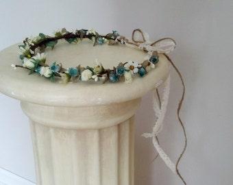 Twine Woodland Hair Wreath Bridal Flower crown by AmoreBride Lace Tie hair garland fairy costume wedding accessories teal aqua headpiece