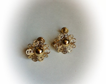 Vintage Gold Tone Metal Filigree Earrings Screwbacks