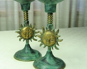 Brass Candlesticks with Sun Face