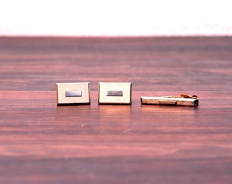 Vintage 1960's, Swank Cuff Links and Matching Tie Clip