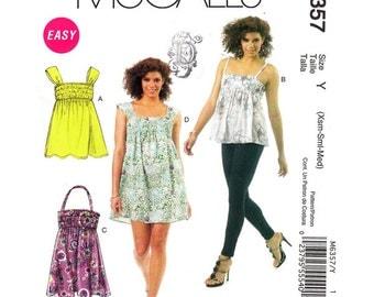 Elasticized Bodice Tunic, Halter Top Babydoll Dress Pattern McCalls 6357 Mini Dress Spaghetti Straps Womens Sewing Pattern Size 4 to 14