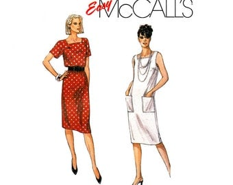 Jacket & Dress Pattern McCalls 2356 Boxy Jacket, Square Neck Dress Patch Pockets Womens Sewing Pattern Size 8 10 12 UNCUT