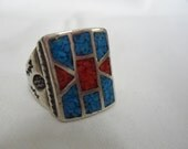 Mens Vintage Native American Navajo Mosaic Turquoise and Coral Sterling Ring CJC Size 9    nan-003