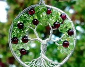 Apple Tree of Life Pendant - Recycled Sterling Silver, Peridot, and Garnet