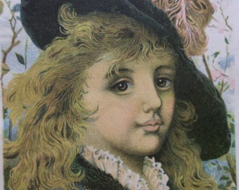 Pretty Girl w/ Long Frizzy Hair & Lrg Feather Hat - Victorian Card Scrap -1800's