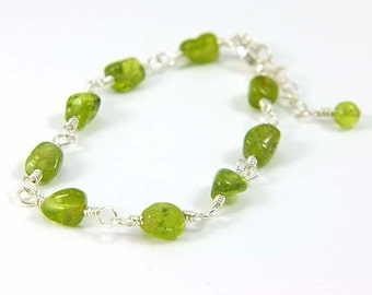 Green Peridot Gemstone Bracelet, August Birthstone