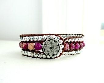 Three Row Cuff Gemstone Beaded Bracelet - Fuschia