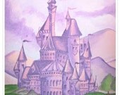 princess castle. fine art print. fantasy. little girl. kids room. purple and pink. princess room. kingdom. queen. nursery decor.