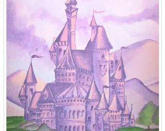 princess castle. fine art print. fantasy. little girl. kids room. purple and pink. princess room. kingdom. queen. nursery decor.