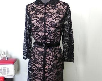Vintage 1960s Black Lace Illusion Dress - 60s Mod Lolita Dress M - on sale