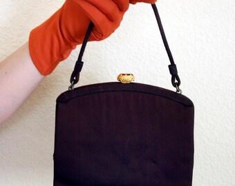Vintage 1960s Brown Evening Handbag with Orange Gem Enclosure