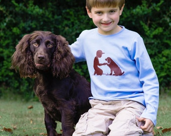 Boy with a Boykin Long Sleeved Nostalgic Graphic Tee in Sky with Chocolate Brown