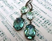 Ireland Earrings Swarovski Erinite Chrysolite Bridesmaid Bridal Double Drop Green