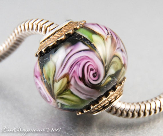 Pale Pink Rose European Charm Bead Handmade Lampwork Flowers Sterling Core Big Hole Bracelet Jewelry