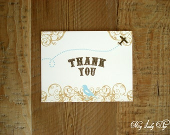 100 Super Cute Vintage Travel Airplane Thank You Note Cards Atlas Map Rustic Thank You Cards - The Miriam Collection - By My Lady Dye