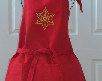 Red Apron with Star of David Embroidered in Gold Metallic Thread Apron was Purchased
