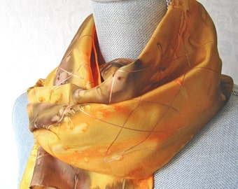 Silk Scarf Hand Dyed in Golden Yellow and Brown with Gold