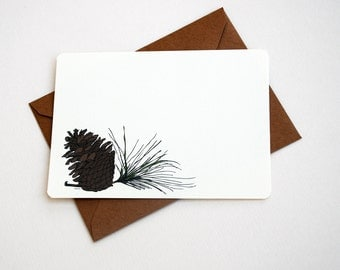 Pine Cone and Needles Note card set in Brown, Green and Cream -Set of 6 flat Notecards and Kraft Envelopes