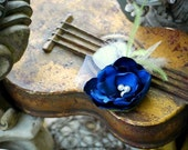 Royal Blue Hair Clip / Comb / Brooch Pin. Teal White Ivory Red Hot Pink Tangerine Satin Flower. Wedding Bride Brida Clipl. Fabulous Couture
