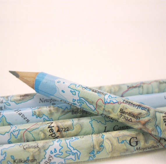Map of Ireland pencils - Set of 5 Hand Covered Pencils in a matching gift box