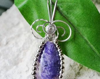 Charoite Wire Wrapped Pendant - Charoite Silver Pendant - Charoite Jewelry - Charoite Silver Beaded Pendant