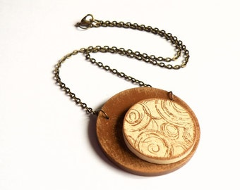 Wooden CIRCLES necklace with antique bronze chain