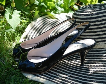 Black Patent Leather MIU MIU Slingback Peep Toe 36.5 6.5