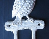 Rustic White Cast Iron Owl Hook/ Hanger/ Home Decor/ Distressed White/ Bird Lover