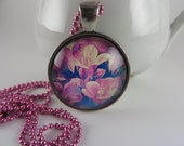 Pink Flower Necklace Blue Silver Glass Art Pendant Boho Free Shipping