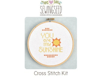 You are My Sunshine Cross Stitch Kit, Beginner Kit, DIY Kit, Embroidery Kit