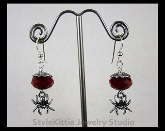 Spider Dangle Earrings, Spider Web, 925 Sterling Silver, Swarovski Crystals, Black, Red Velvet, Silver Shade, Jewelry, French Hook Earwire