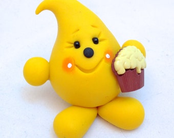 Parker with Cupcake - Polymer Clay Figurine - Whimsical Character
