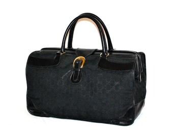GUCCI Duffle Black Monogram Leather Large Doctors Tote  - AUTHENTIC -