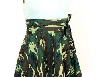 "Plus Size camouflage Skirt / Women plus size high waist ( 2 - 38 ) 25"" L"