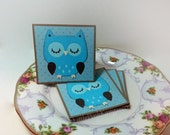 Blue Polka dot Owl- Mini Cards Thank You Cards  ( Set of 4)