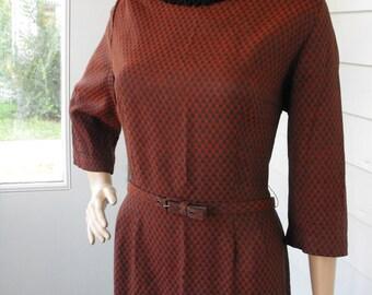 Red Plaid Dress Black Check Print Buffalo 60s Vintage 1960s Fashion Frock Fall Winter L XL