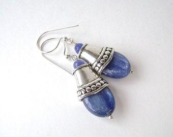 Kyanite Earrings, Gemstone Jewelry, Silver, Pewter, Blue Kyanite, Blue Earrings, Cornflower, Royal Blue, Azure, Blue Violet, 650