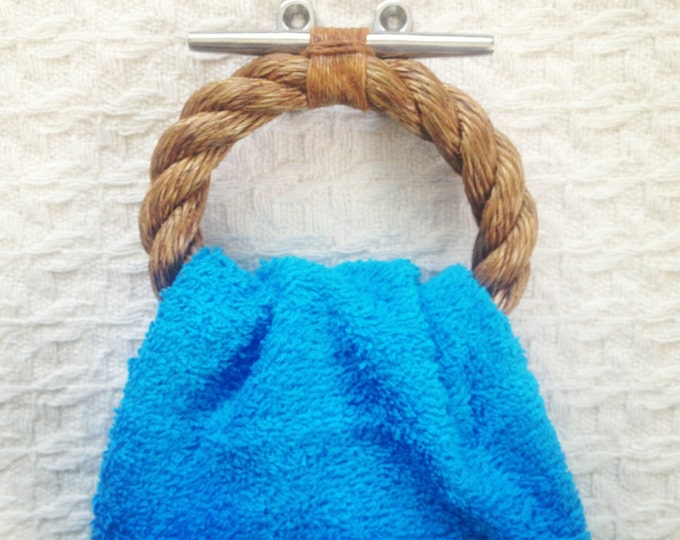 Small Varnished Rope Towel Holder on Stainless Steel Dock Cleat: Nautical Vibe