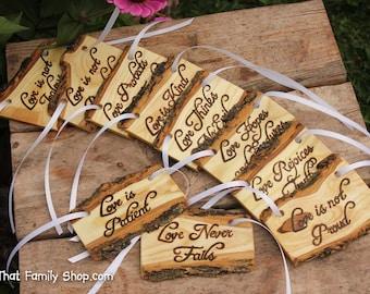 Love is Patient, Set of 10 | Cor.13: Rustic Wedding Aisle Decorations Bible Scripture Verses