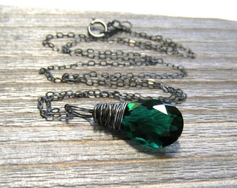 Emerald Green Necklace,  Green Quartz Pendant,  May Birthstone,  Hand Wire Wrapped in Sterling Silver