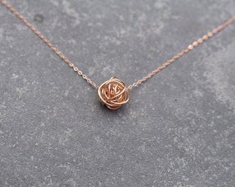 ROSE GOLD Knot on rose gold necklace, Love knot necklace, pink gold love knot, bridesmaid necklace