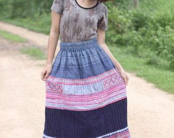 100 percent hemp embriodery pleat skirt natural hand batik