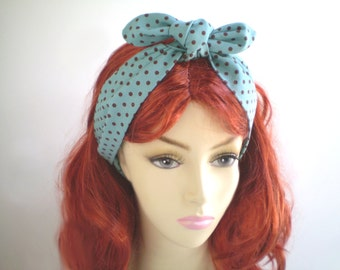 Teal and Brown Polka Dot Head Scarf, Turquoise Brown Head Scarf, Teal Headwrap, 1940s 1950s Head Scarves
