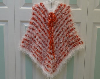 GIRL'S KNIT PONCHO, Size 7 to 8 year old, hand knitted in white fun fur, white & orange heather yarn.