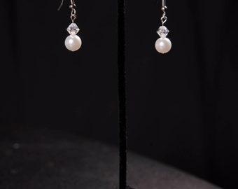White pearl and crystal earrings
