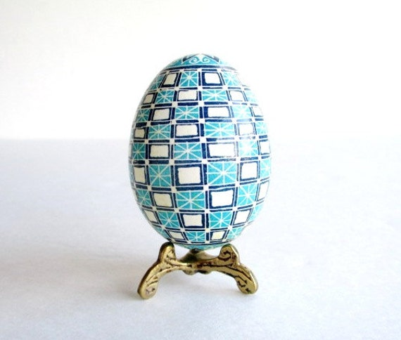 Blue Pysanka batik egg on chicken egg shell Ukrainian Easter egg, hand painted egg